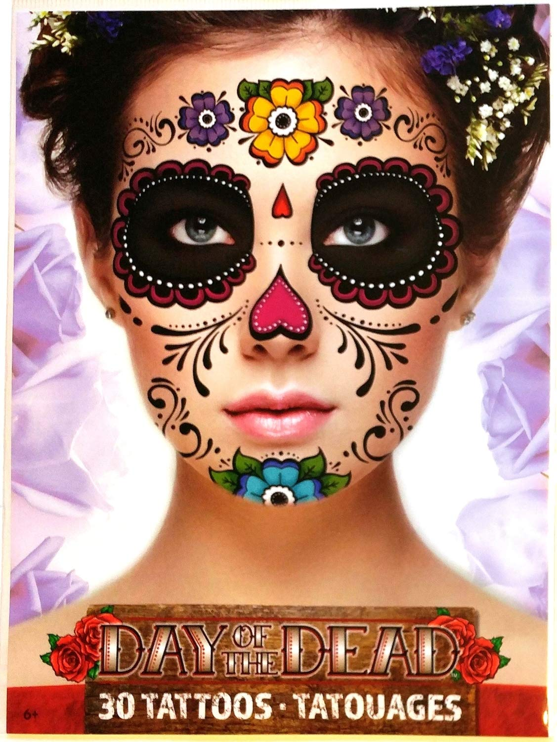 Halloween Floral Day of the Dead Temporary Face Tattoo - 2 Sheets, by Savvi