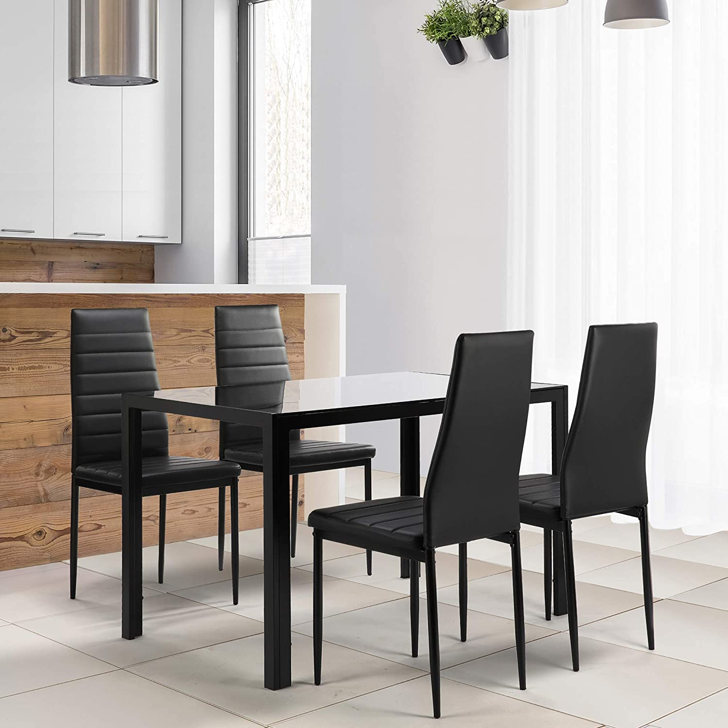 N Black A 5 Pieces Dining Table Set Kitchen Room Tempered Glass Dining Table With 4 Pu Leather Chairs For Small Spaces Home Furniture Rectangular Table Chair Sets Kitchen Dining