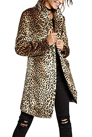 eb3721de26de3 Women Warm Long Sleeve Parka Faux Fur Coat Overcoat Leopard Fluffy .