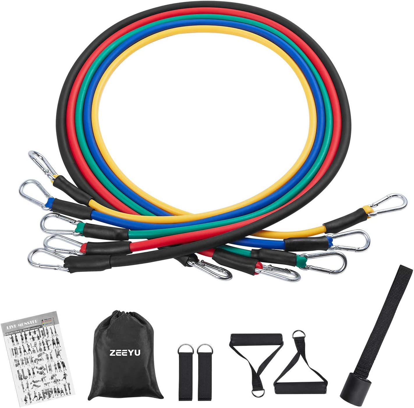 11pcs Yoga Resistance Bands Set Heavy Workout Exercise Fitness Stretching Ropes