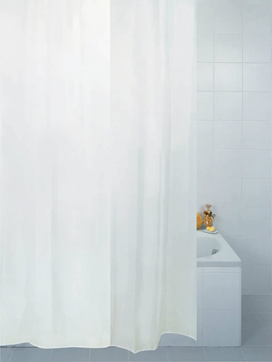 Plain White Fabric Shower Curtain 180 X 210 Cm Amazoncouk Kitchen Home