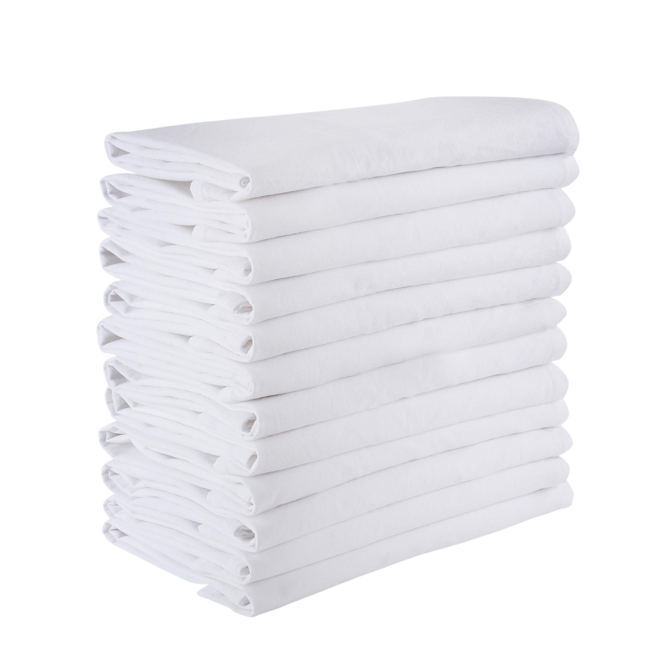 Floursack towels (Set of 12) Soft dish towels, 18x18'', 100% Pure Cotton Fine Cloth Multi Use-Soft Cleaning cloth, Lint Free, Cheese cloth, Cloth strainer, Certified Product, Eco friendly and Safe