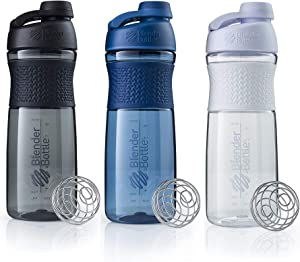 BlenderBottle SportMixer Shaker Bottle 28 oz, 3-Pack, Colors may vary - Stain and Odor Resistant with a Foldaway Carry Loop for Easy Handling