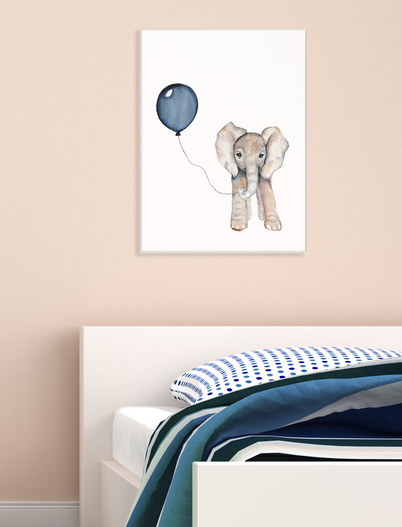 The Kids Room by Stupell Baby Elephant with Blue Balloon Wall Plaque Art, 10 x 15 by The Kids Room by Stupell (Image #2)