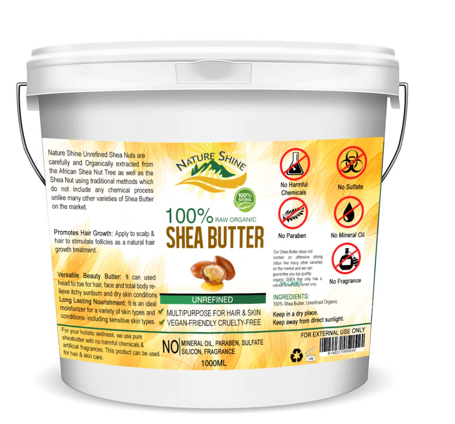1KG Organic Shea Butter Unrefined 100% Pure, Raw & Natural Certified Organic A Grade African Shea Body Butter Moisturiser Cream Lotion for All Skin Face Hair Type