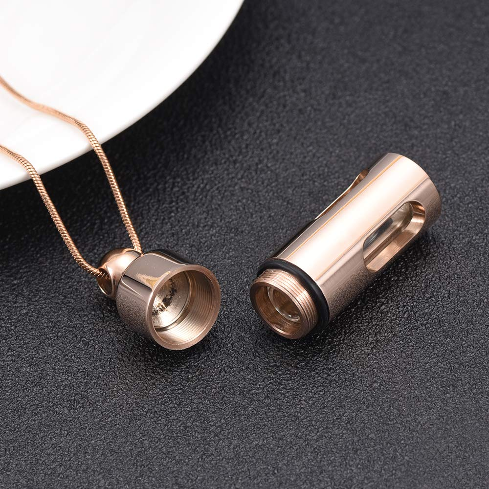 mingkejw Glass Cremation Jewelry for Ashes Necklace Stainless Steel Cylinder Memorial Ashes Pendants Glass Tube Keepsake Jewelry for Women//Men