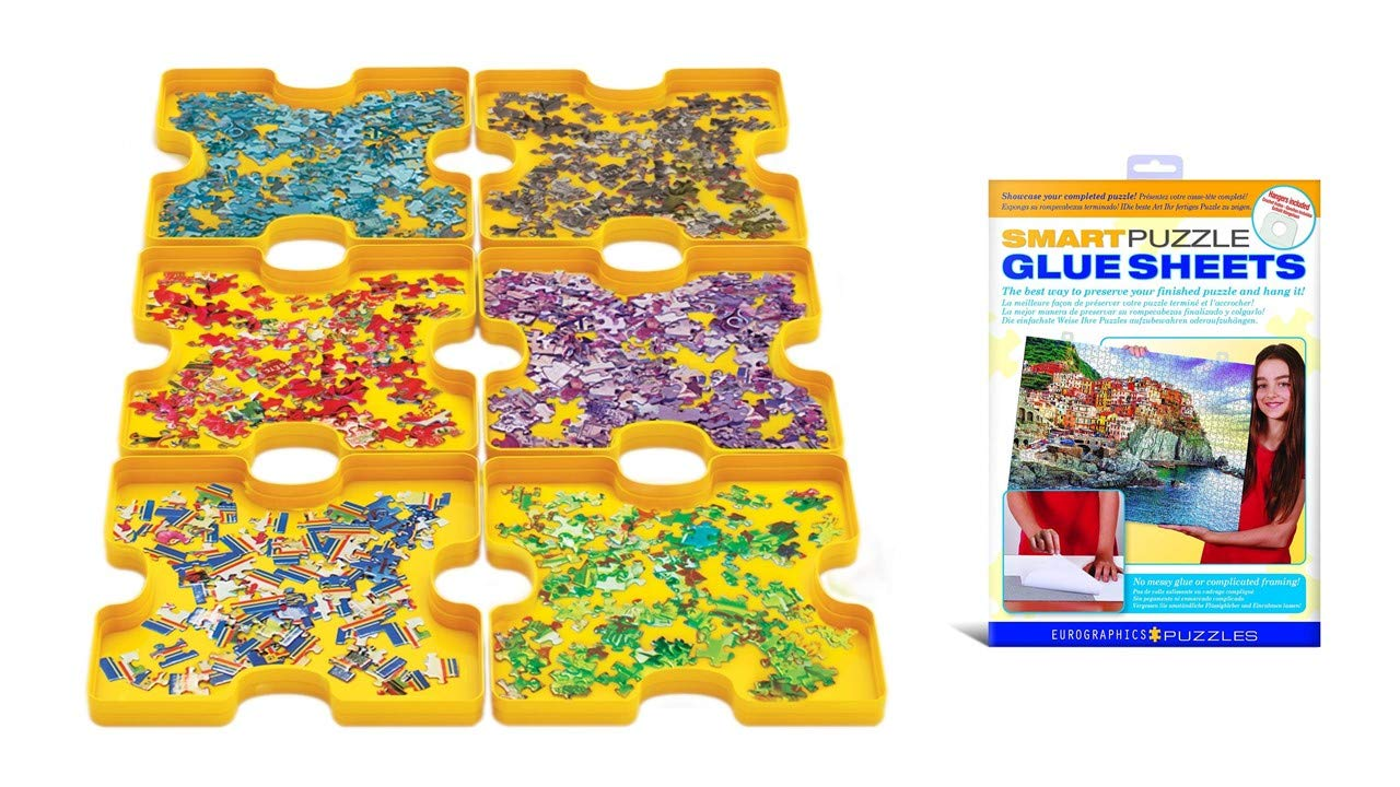 EuroGraphics 2 Pack Puzzle Accessory Kit Sorting Trays Sticky Sheet