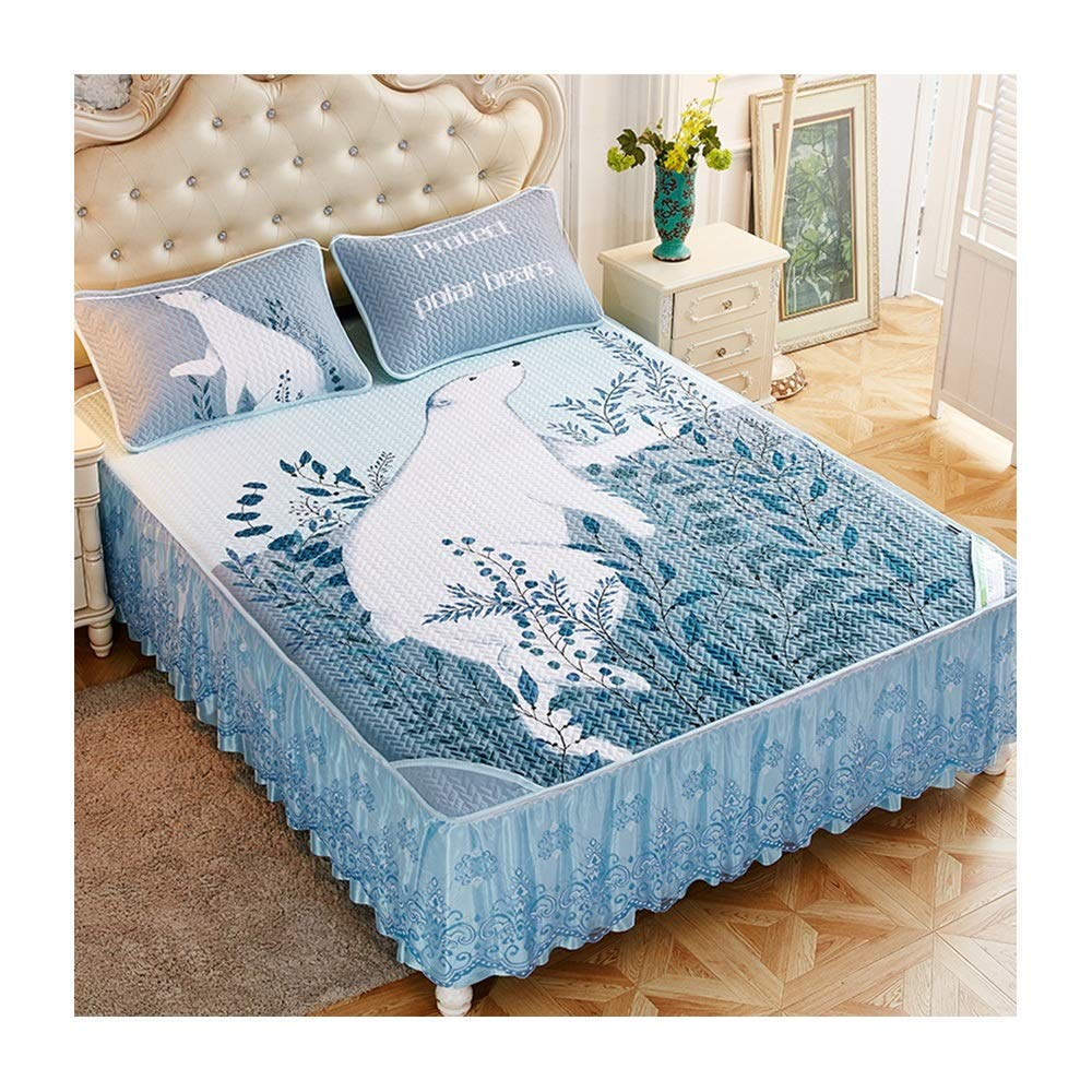 Nwn Tencel Mat Bed Skirt Bed Cover Three Sets of Bed Sets Ice Silk Slip Single Piece with Lace Lace Summer Summer (Color : B, Size : 200220cm) by Nwn