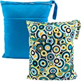 ALVABABY 2pcs Cloth Diaper Wet Dry Bags Waterproof Reusable with Two Zippered Pockets Travel Beach Pool Daycare Soiled…