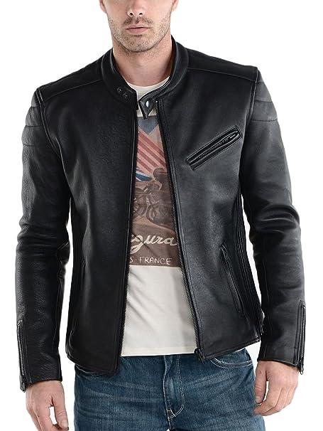 Laverapelle Mens Genuine Lambskin Leather Jacket (Black, Biker Jacket) - 1501008