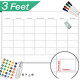"""Large Dry Erase Wall Calendar - 24"""" x 36"""" - Undated 2020 Monthly Organizer Planner - Erasable Oversized Giant Planner for Home Office Business Classroom Dorm Room - Reusable Jumbo Week Planner"""