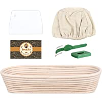 Sonidko Banneton Proofing Basket, Oval Bread Proofing Basket, Sourdough Proofing Basket with Dough Scraper, Bread Lame, Silicone Brush, Linen Liner Cloth for Professional&Home Bakers(13.6X5.5X2.7in)