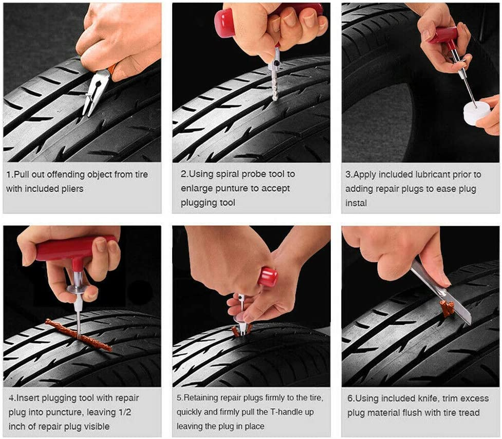 X-BULL 102-Piece Tire Repair Plug Kit for Car Motorcycle Truck RV Jeep ATV Tractor Trailer Universal