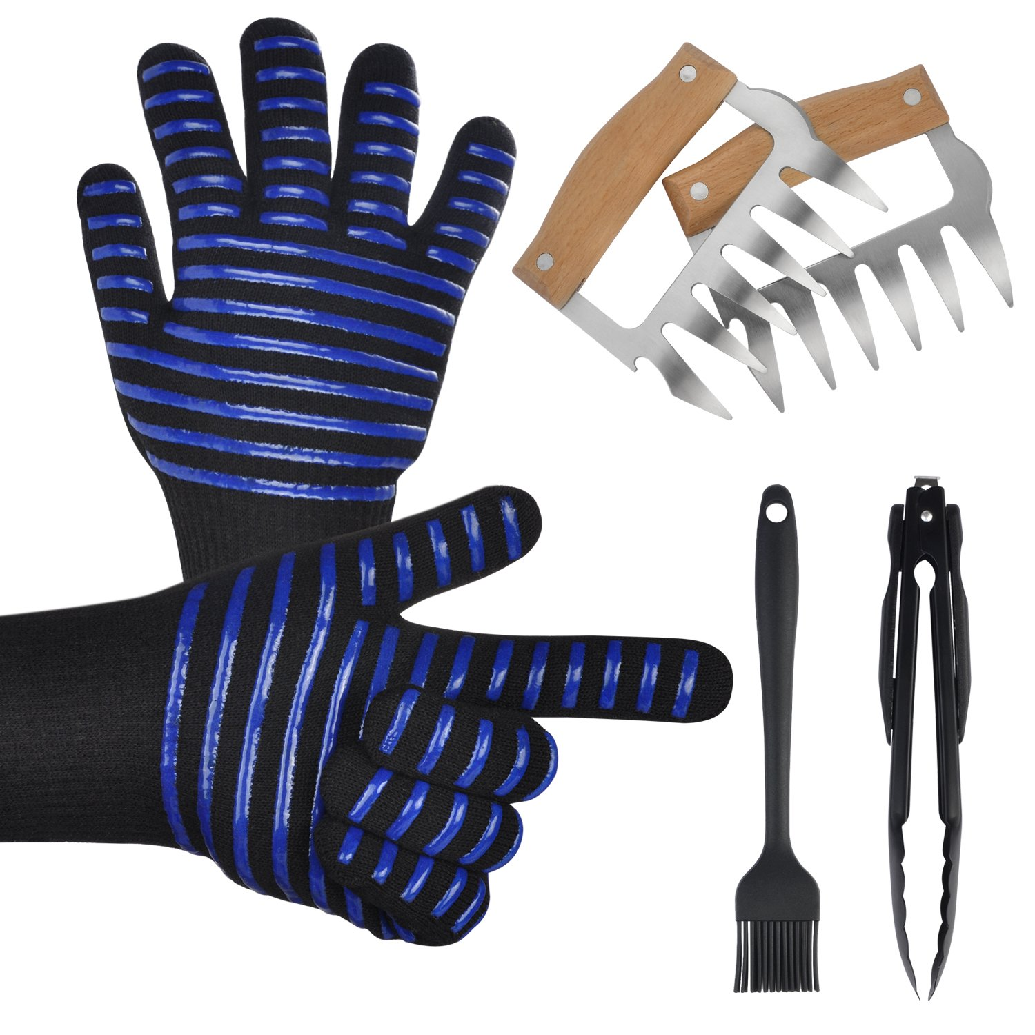 WAPITI BBQ Grill Gloves Meat Shredder Claws Kitchen Tong Silicone Brush Set, Heat Resistant Grilling BBQ, Oven, Grill, Baking, Cooking/Oven Gloves & Barbecue metal Claws
