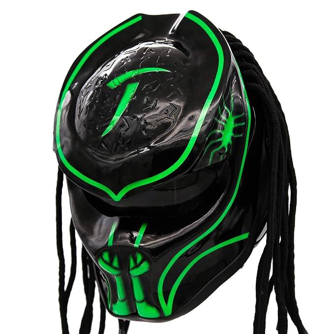 Predator Motorcycle Helmet - DOT Approved - Unisex - Alien Green Abyss