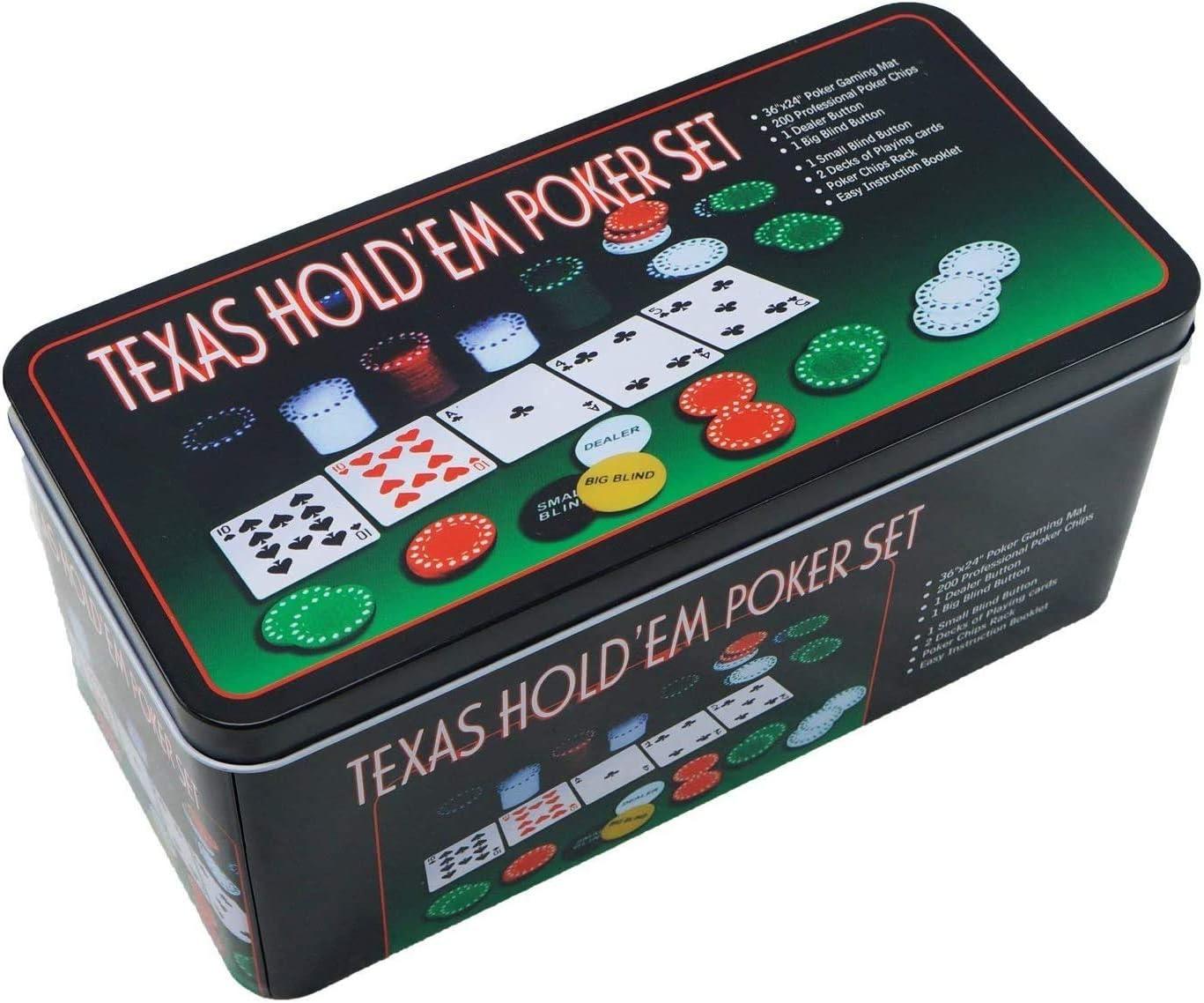 ELAELA Set de póker Caja de Metal, 200 fichas de póker, 2 Cubiertas, botón de repartidor, ciega pequeña, Gran ciega, tapete de Juego