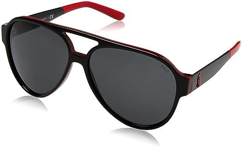 Amazon.com: anteojos de sol Polo PH 4130 566887 negro/rojo ...