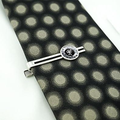 Letter F on Fleur De Lis Pattern Mens Tie Clip Tack Bar