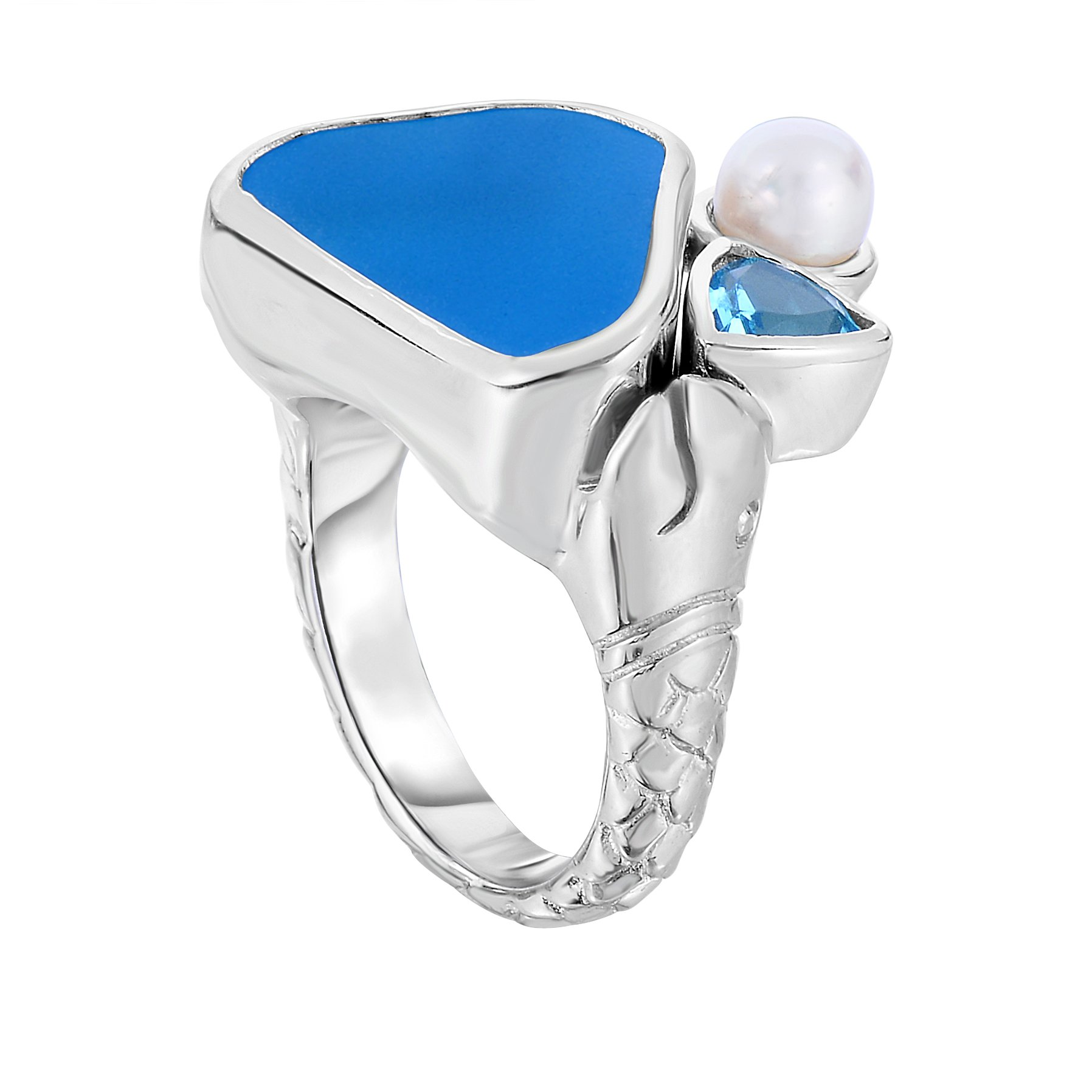 Sterling Silver Ocean Side Sea Glass, Blue Topaz and Freshwater Cultured Pearl Ring (rhodium-plated-silver, 6.5) by Unique Royal Jewelry