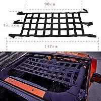 HOZAN Car Heavy Duty Black Auto Roof Hammock Mesh Cargo Restraint Net Top Bed Rest for Jeep Wrangler YJ TJ JK JL…
