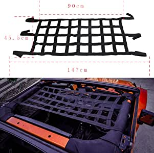 HOZAN Car Heavy Duty Black Auto Roof Hammock Mesh Cargo Restraint Net Top Bed Rest for Jeep Wrangler YJ TJ JK JL & Unlimited Back Window Extra Storage Network Cover