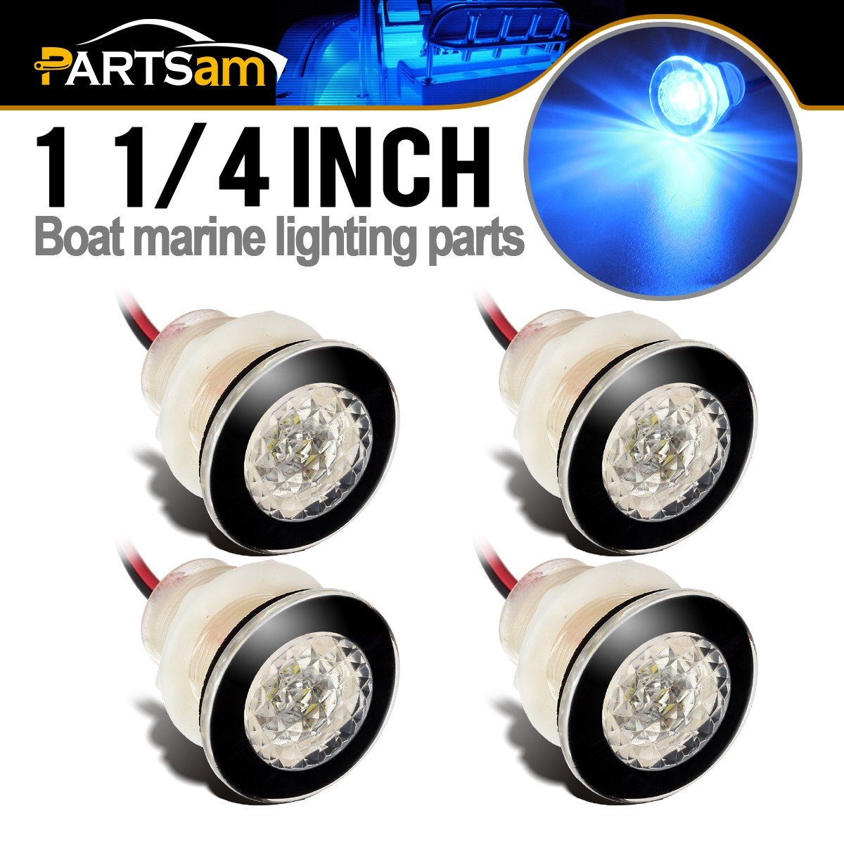 "Partsam 4Pcs 1-1/4"" Livewell Blue Outdoor Path Garden Yard Stair LED Deck Step Lights Clear Lens, Mini Round Led Boat Lights 12V Interior Exterior Under Water IP68"