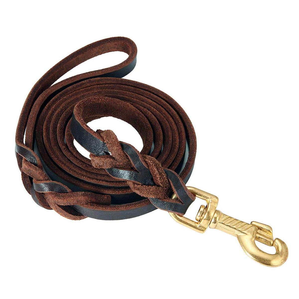 Leather Dog Leash 5.2 Ft Leather Dog Training Leash Pet Braided Dog Leash for Large Medium Leads Rope Dogs Walking&Training (0.7 Inch,Brown)