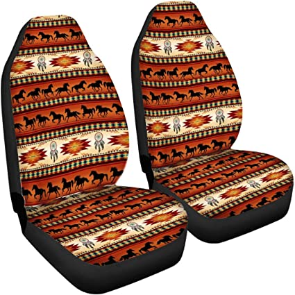 SEANATIVE Auto Accessiores 2pc Car Headrest Cover,American Baja Horse Dreamcacther Print Soft Head Rest Cover,Adjustable Elastic Cover Wraps