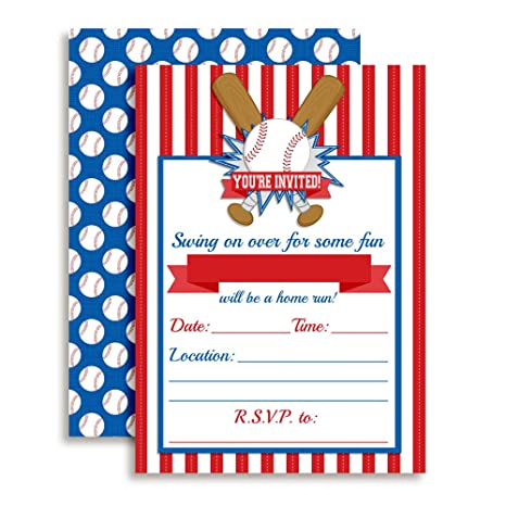 Amazon Baseball Themed Birthday Party Invitations 20 5x7 Fill In Cards With Twenty White Envelopes By AmandaCreation Toys Games