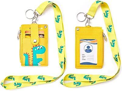 Amazon.com : Badge Holder with Zipper, Cute PU Leather ID ...