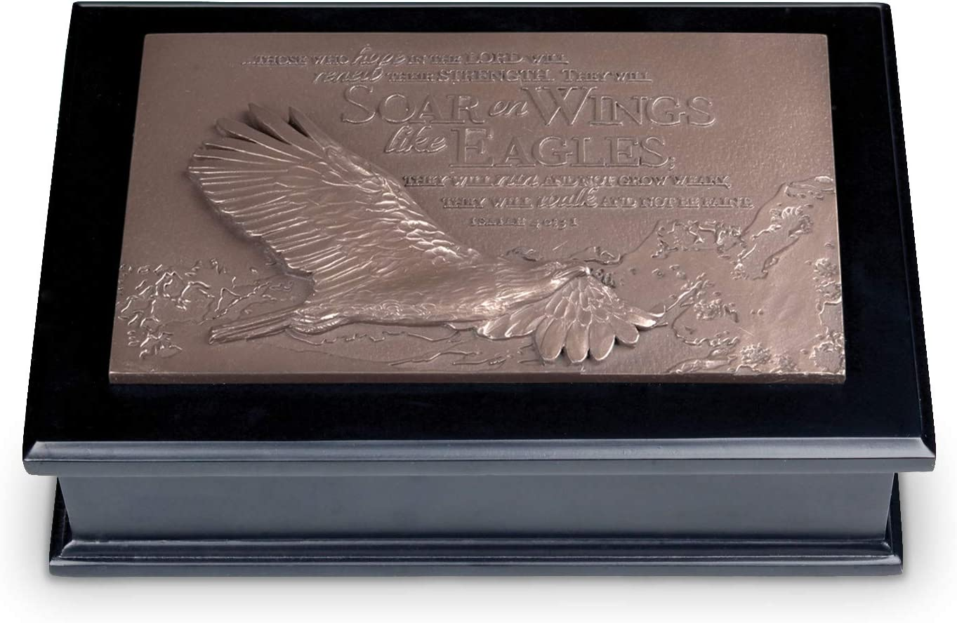 Lighthouse Christian Products Soar Like an Eagle Bronzelike Finish 8.5 x 5.75 Cast Stone and Wood Sculpture Plaque Box