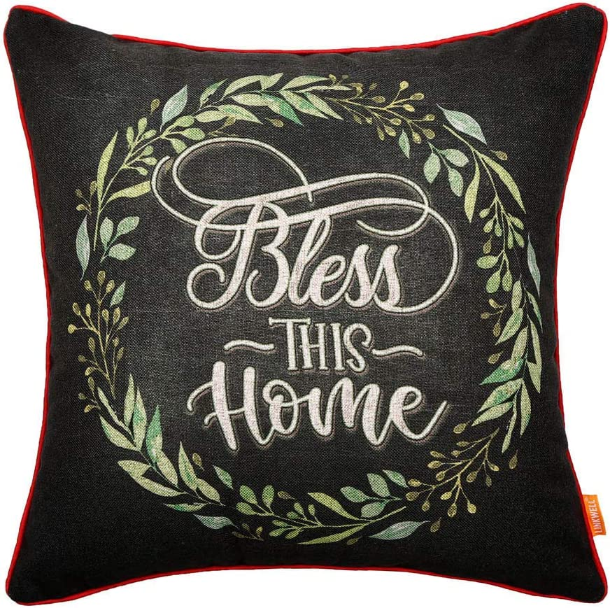 LINKWELL Chalkboard Art Bless This Home Pillow Cover 18x18 inch Green Leaf Wreath Decorative Cushion Case for Sofa Bedroom Car Couch CC1727