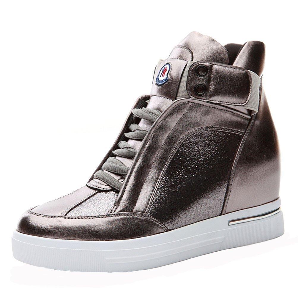 DUNHU Women Fashion Walking Shoe Patent Leather Flat Sneaker Gold 7M US by DUNHU