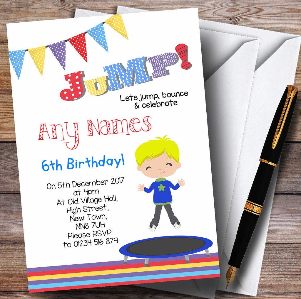 Blonde Boy Trampoline Childrens Birthday Party Invitations