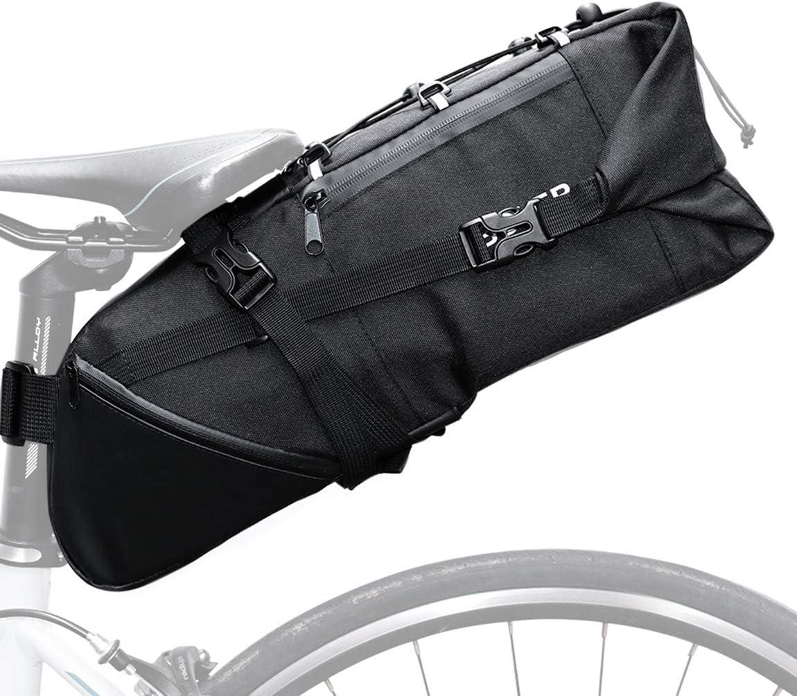 Bolsa de Sill/ín de Bicicleta Poli/éster Resistente Bicicleta Asiento Trasero Bolsas con Arn/és Asiento Bolsa de Transporte Bicicleta Bolsa 10L