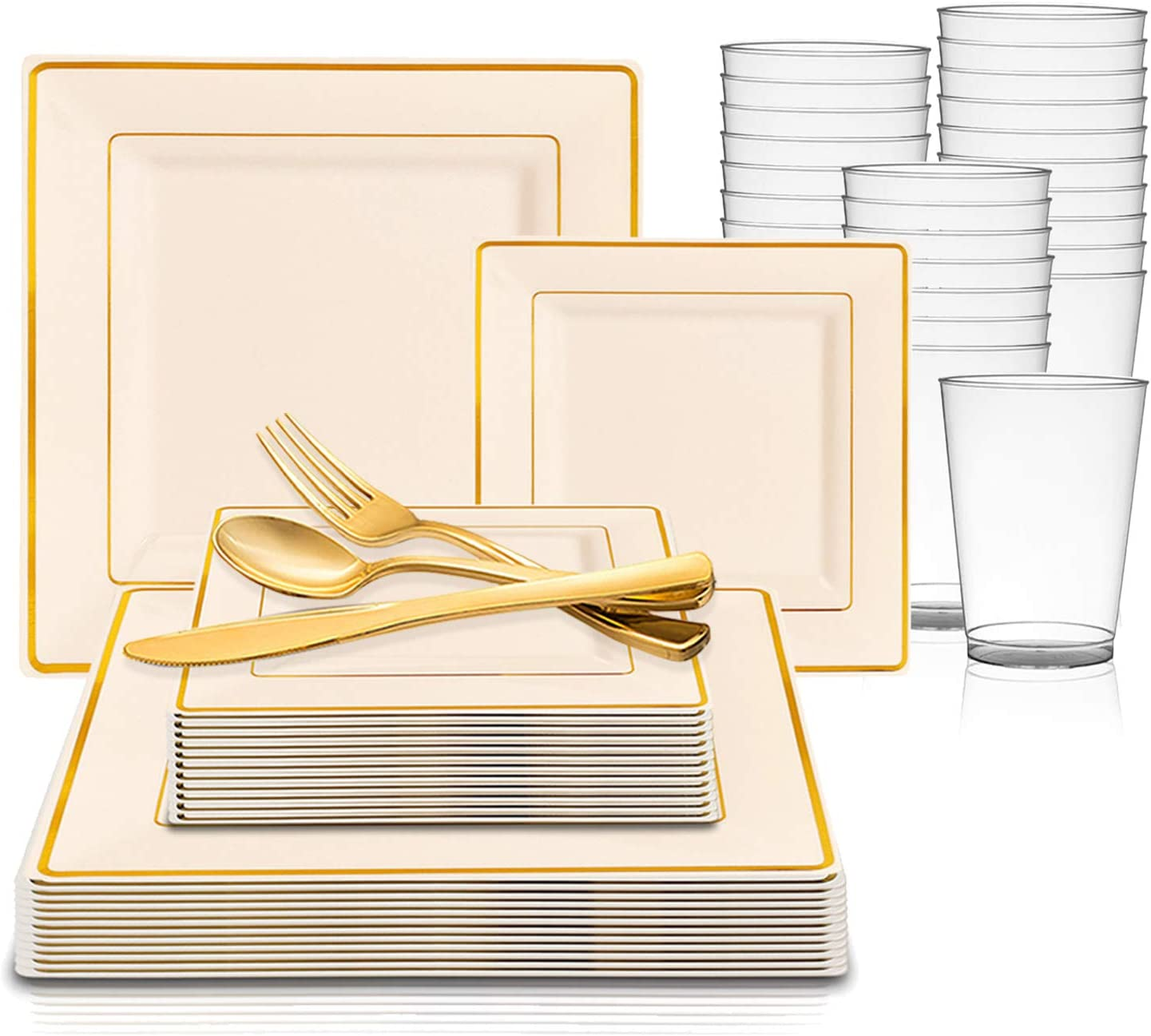360 Piece Elegant Disposable Plastic Dinnerware Set for 60 Guests - Fancy Square Ivory with Gold Rim Dinner Plates, Dessert Plates, Silverware Set & Cups For Wedding, Easter, Birthday & All Occasions 71aCO2cQy6L