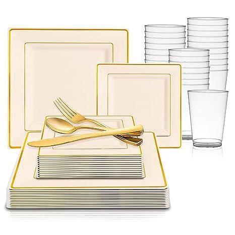 Amazon.com: Vajilla de plástico desechable – incluye platos ...