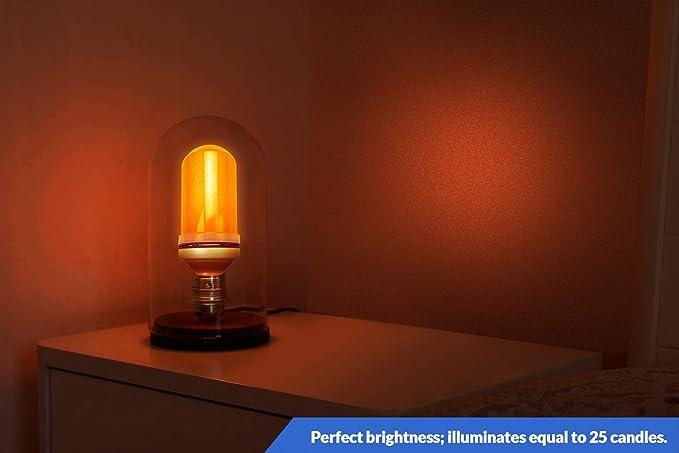 Dreampanion - Bombilla LED de ámbar con efecto vela real, 3 modos, luz ámbar que ayuda a la producción corporal de melatonina de forma natural, ...