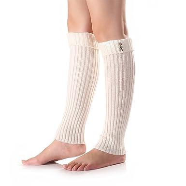 Zelta Womens Knitted Boot Cuff Socks Winter Leg Warmer Button