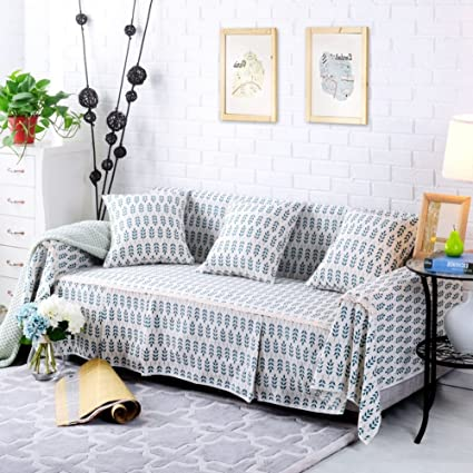 Amazon.com: Cotton and linen Slipcover sofa,Pastoral style ...