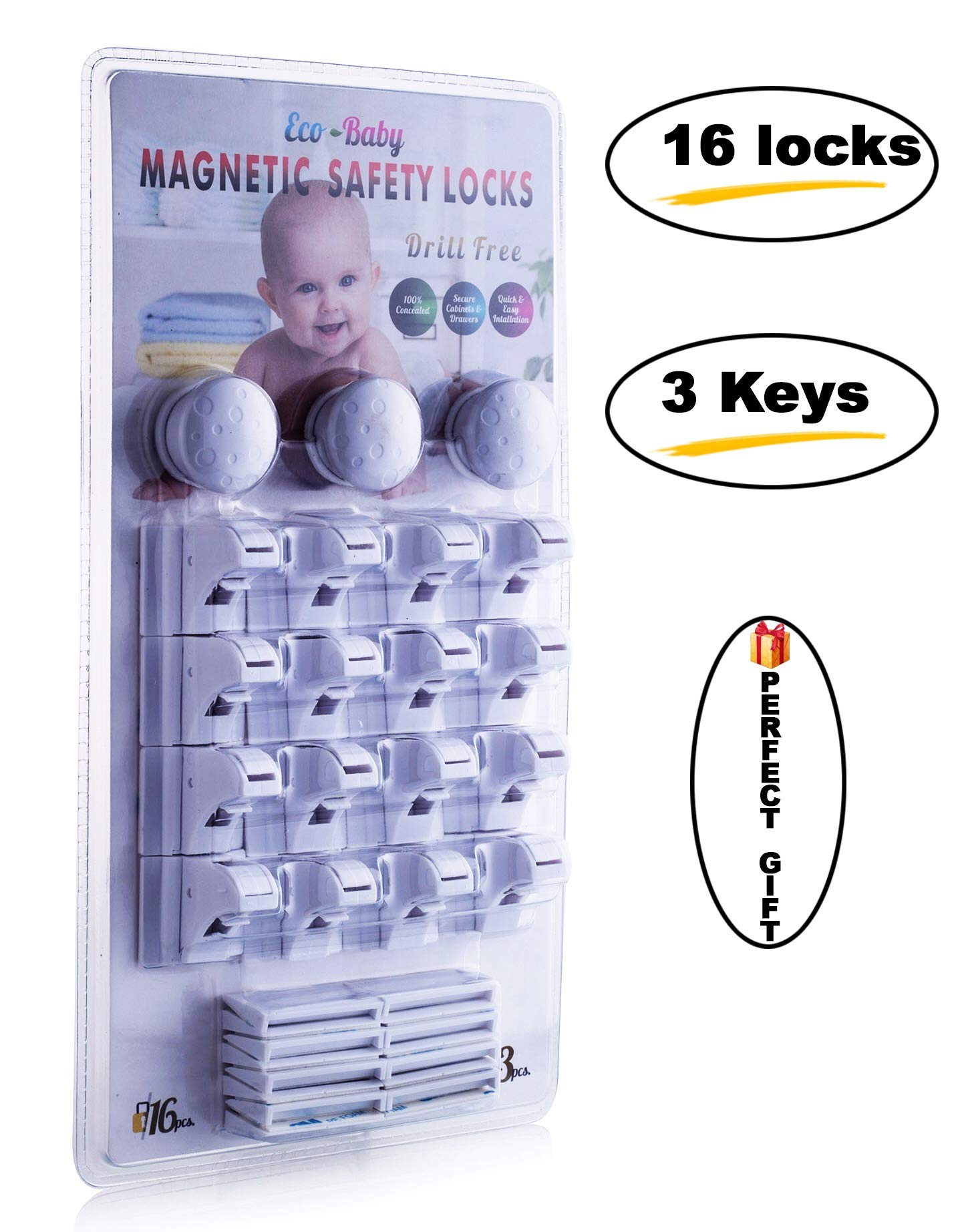 Eco-Baby Magnetic Cabinet Locks Child Safety for Drawers and Cabinets - Kitchen Child Proof Cabinet Locks - Baby Proofing Safety (16 Locks & 3 Keys) by Eco-Baby (Image #3)