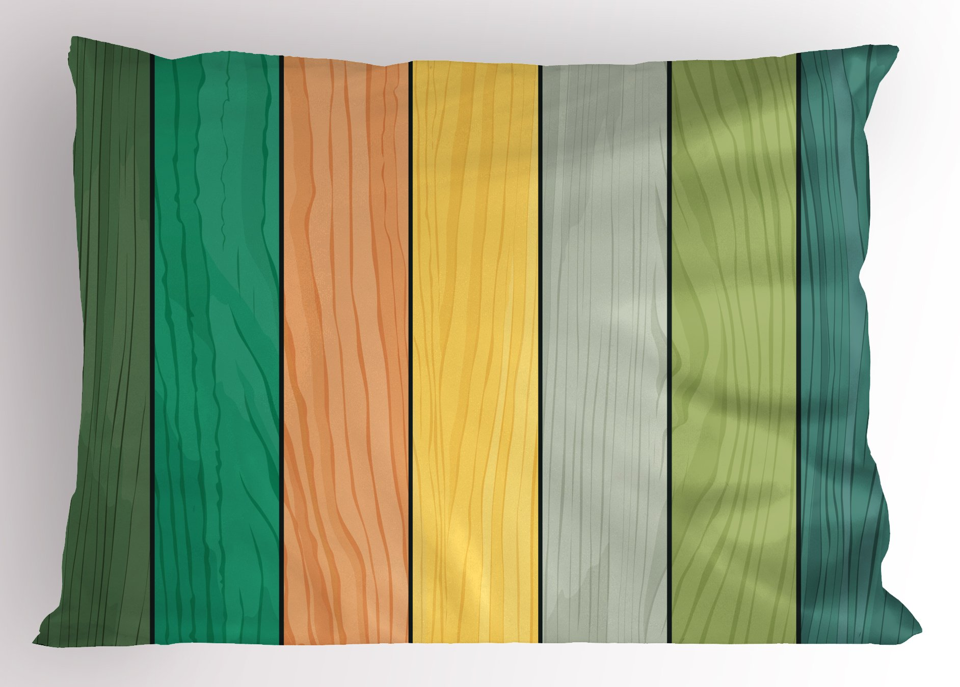 Lunarable Colorful Pillow Sham, Realistic Wood Texture Pattern on Colorful Stripes Timber Structure Detail Image, Decorative Standard Queen Size Printed Pillowcase, 30 X 20 inches, Multicolor