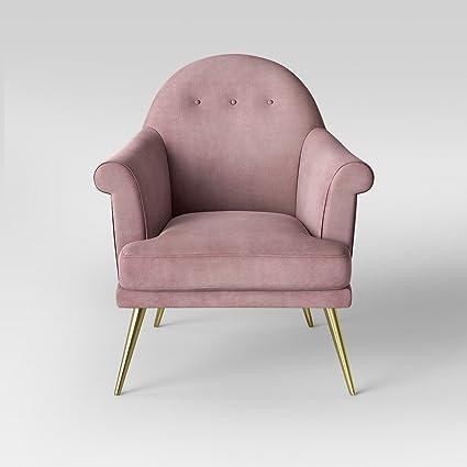 Charmant Myna Tufted Velvet Arm Chair With Brass Legs   Opalhouse