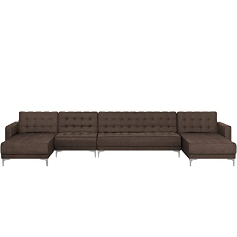 Beliani Sofá Cama XXL tapizado marrón Oscuro Aberdeen ...