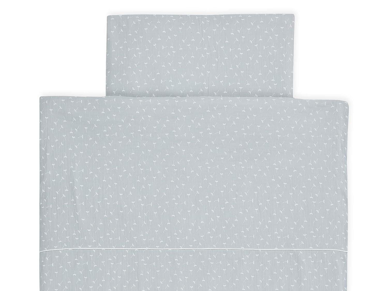 handgearbeitete Bettw/äsche gefertigt in der EU KraftKids Bettw/äsche-Set Musselin grau Pusteblumen aus Kopfkissen 40 x 60 cm und Bettdecke 135 x 100 cm Bettbezug aus Baumwolle