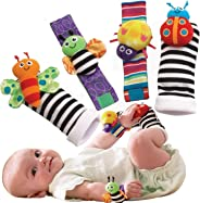 Foot Finders & Wrist Rattles for Infants Developmental Texture Toys for Babies & Infant Toy Socks & Baby Wrist Rattle - Newbo