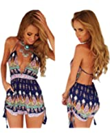 Moxeay® Sexy Bohemian Printed Deep V-Neck Backless Romper(US Shipping)