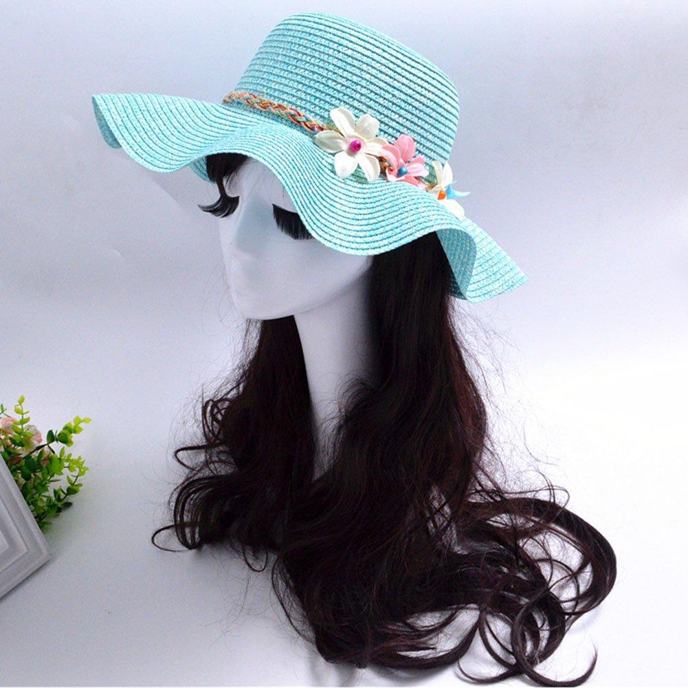 Westeng Sombrero de Paja para Niños Flores Bastante Sombrero al Aire Libre  Anti-UV size 50-52cm  (Azul marino ) Ideas de regalos de navidad 2d5ced59664