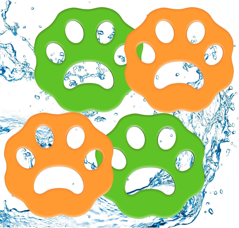 Pack de 4 quitapelos para mascotas, para lavadora, quitapelos, para ropa de cama, color verde y naranja