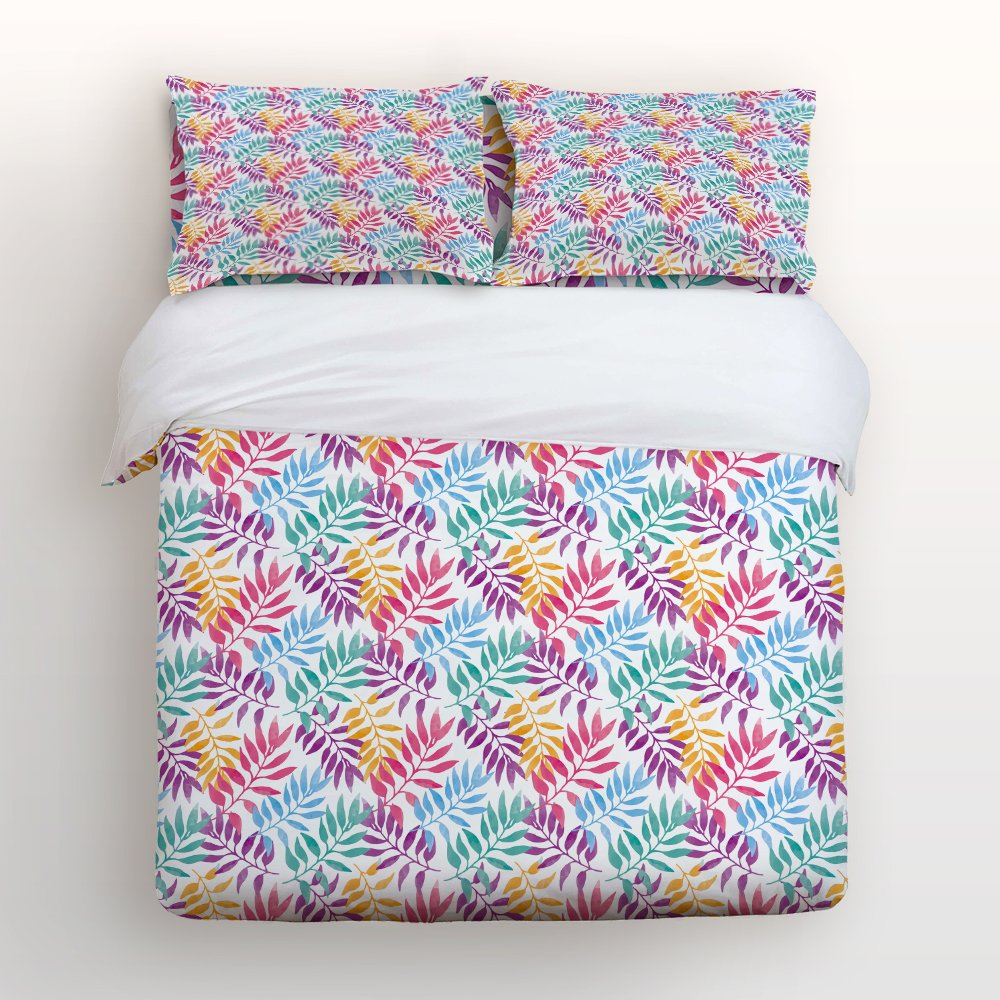 Libaoge 4 Piece Bed Sheets Set, Colorful Tropical Palm Leaves Print, 1 Flat Sheet 1 Duvet Cover and 2 Pillow Cases